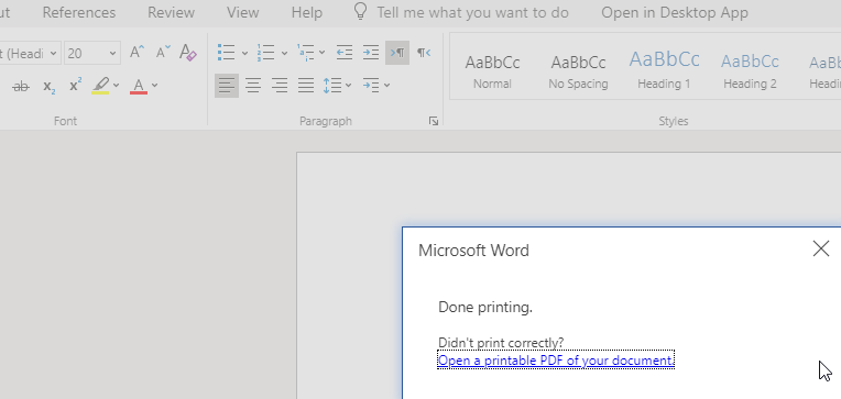 Office 365 documents won't print in (v76 0 3809 100