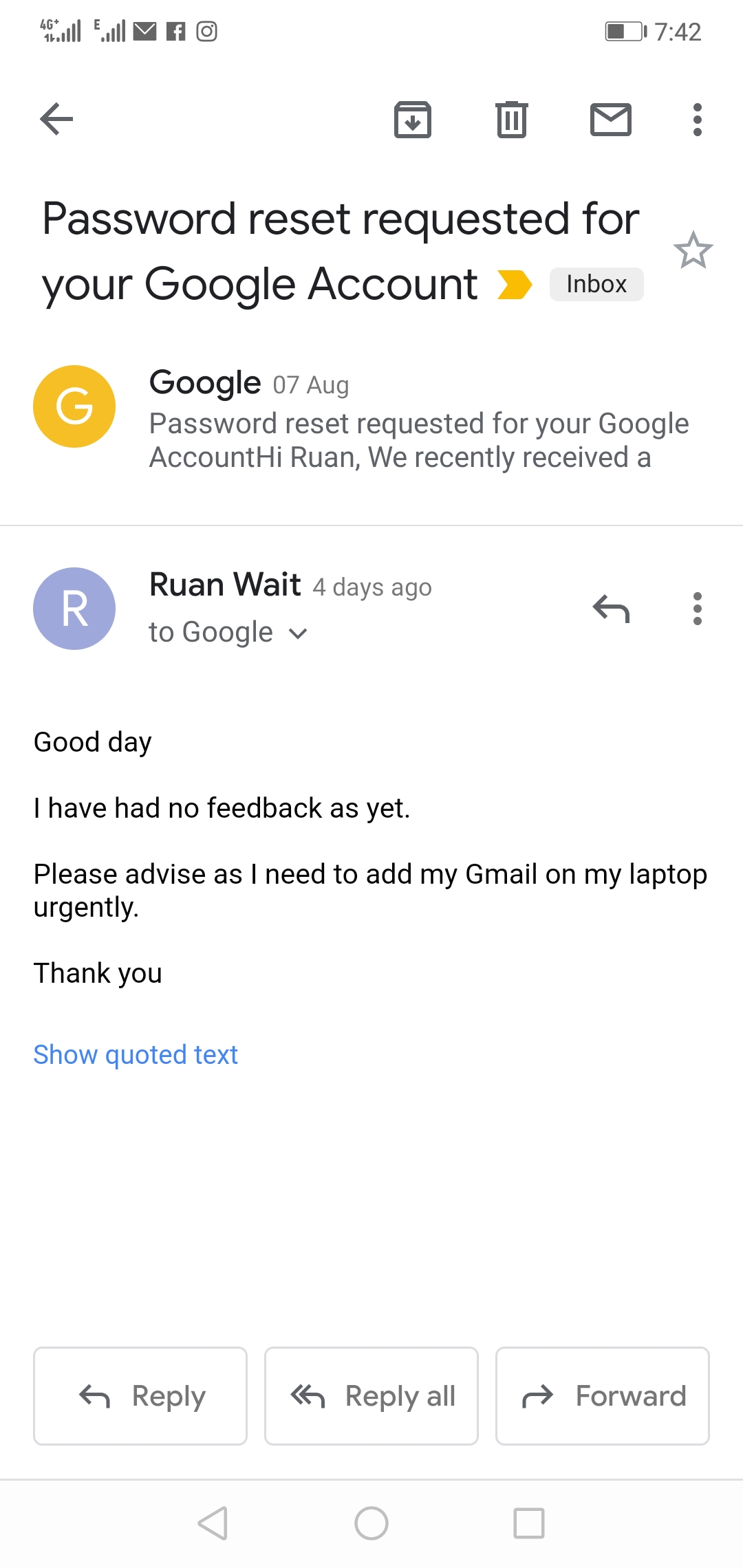 I am unable to sign into my Gmail account  My bank account