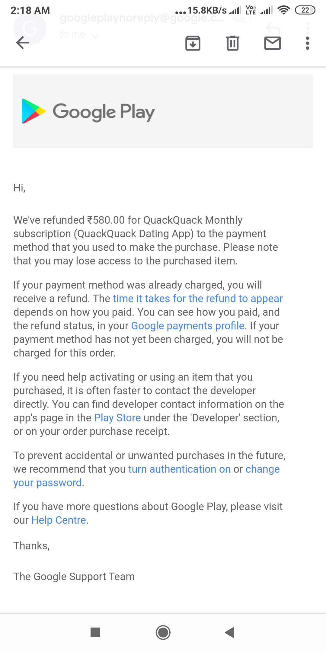 Google Play Refund Roved But Have