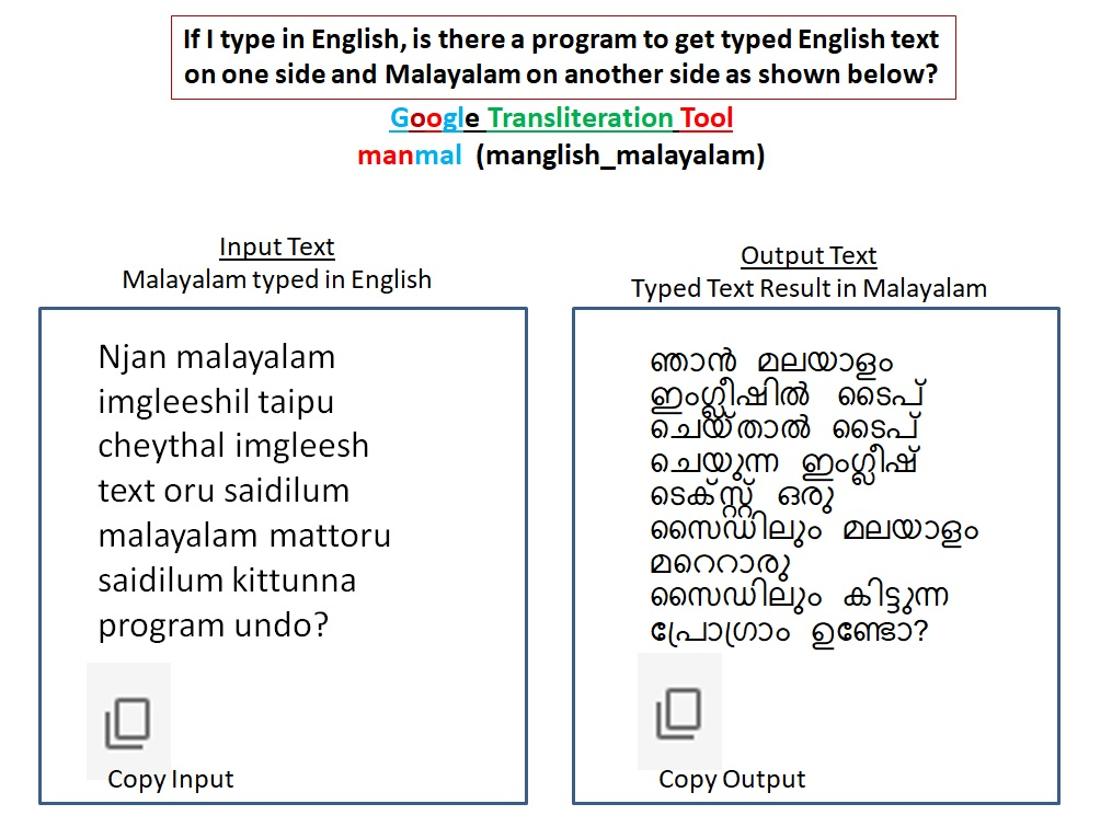 Is There A Transliteration Tool To Get Manglish Text On One Side And Malayalam Text On Another Side Google Translate Community