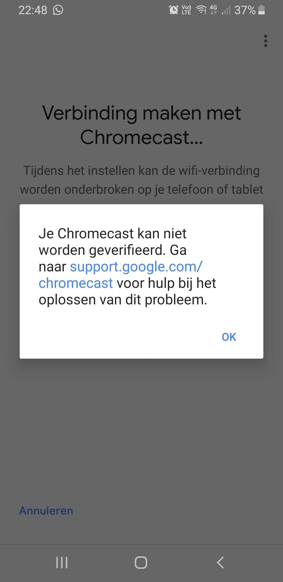 I Am Trying To Setup A Chromecast 1 But Keep Getting An