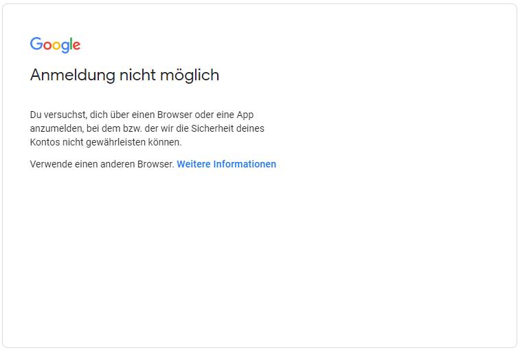 Nicht möglich android gmail anmeldung E