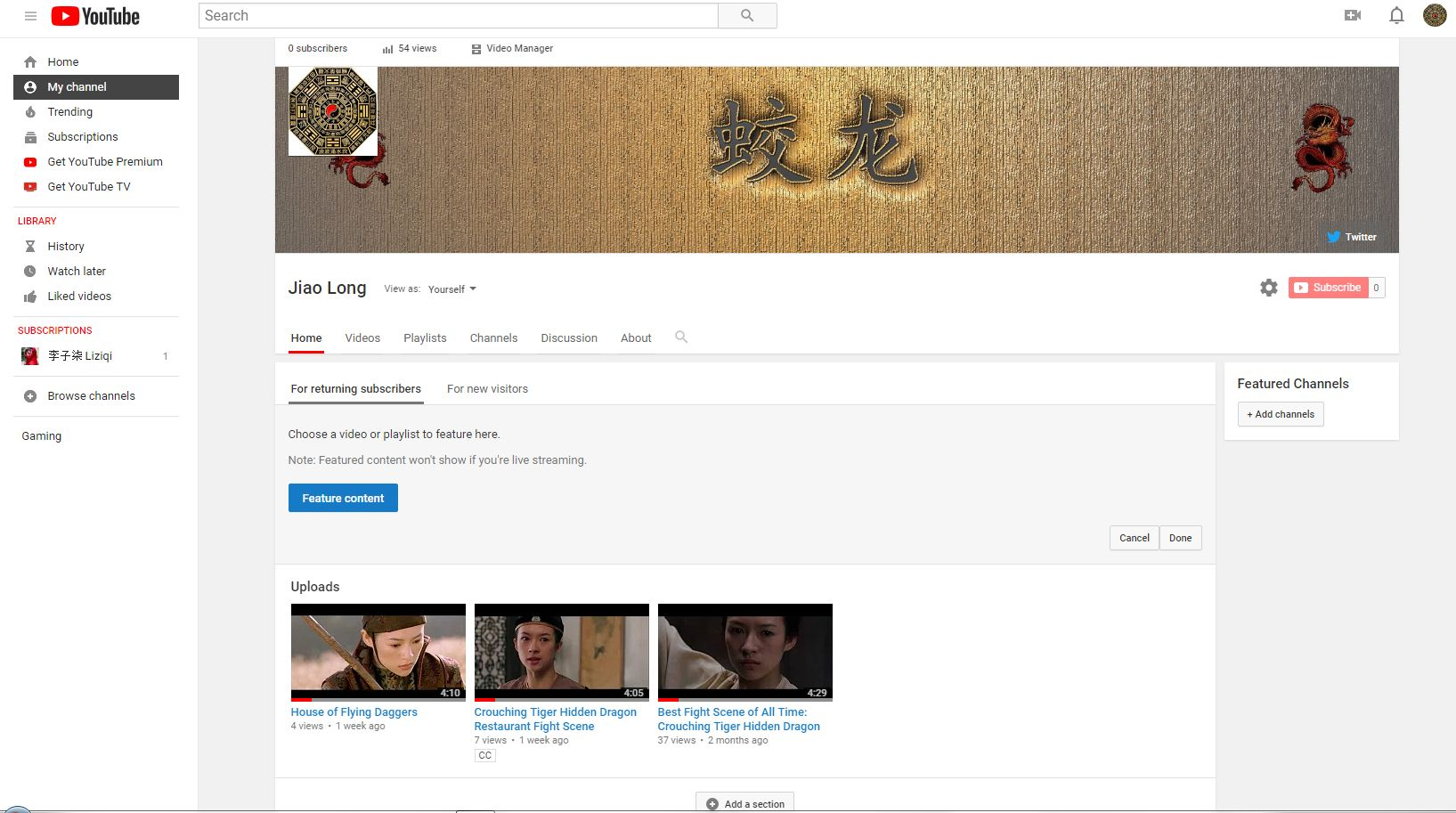 YouTube channel homepage customization -add section- bug