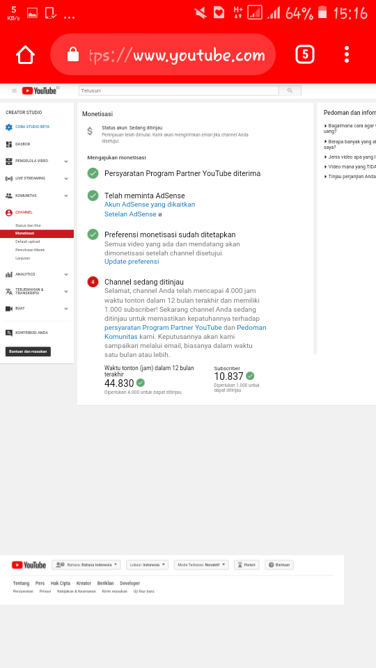 Good morning, i would to ask about monetization - YouTube Help
