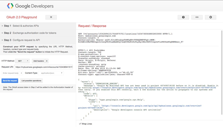 Google my business API Permission denied - Google My