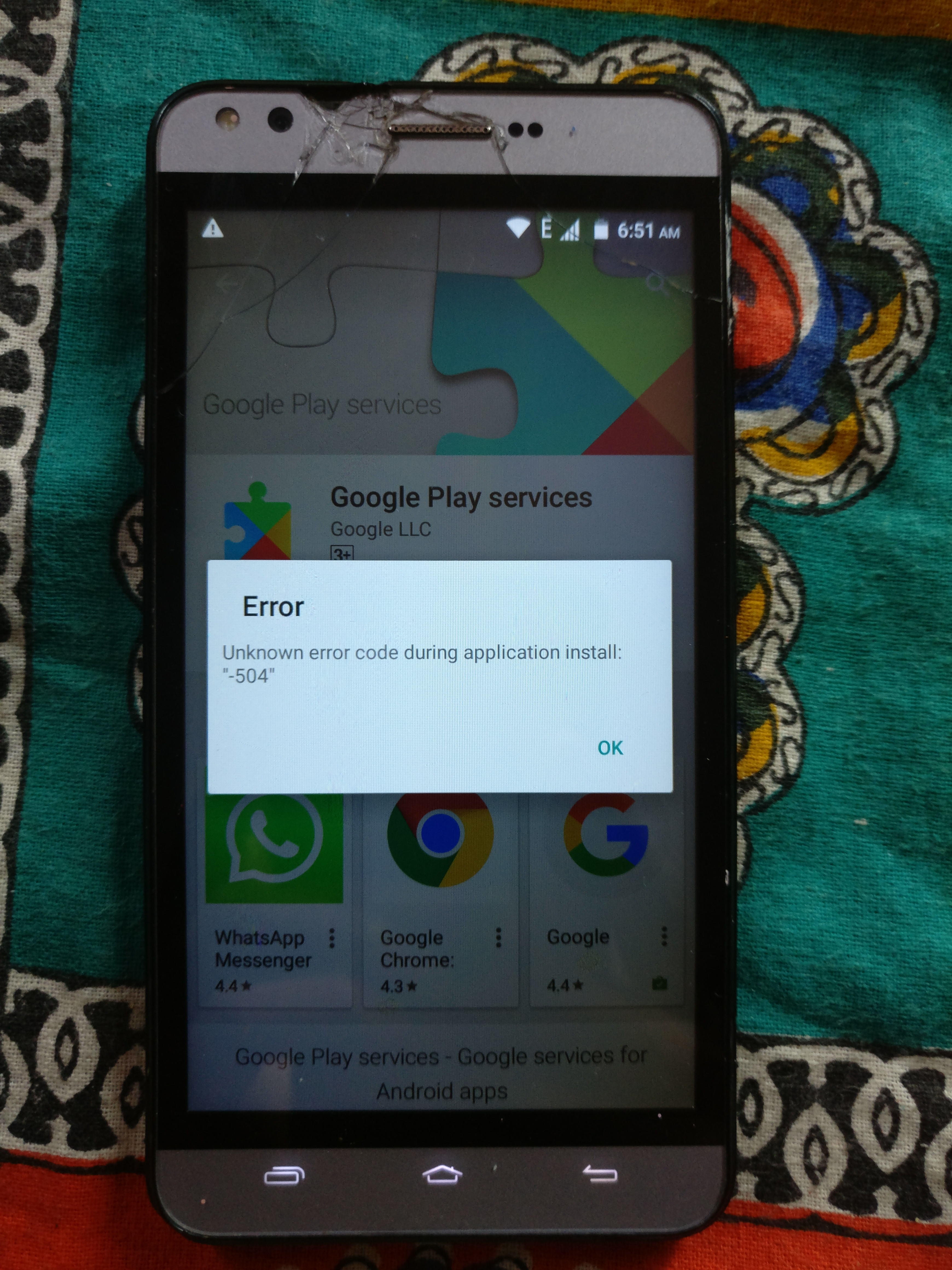 Can't install google play services error code 501 - Google