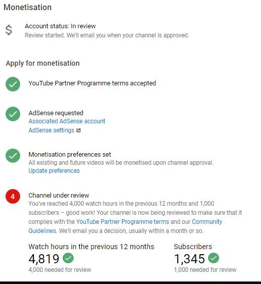 MONITIZATION STILL UNDER REVIEW - YouTube Help