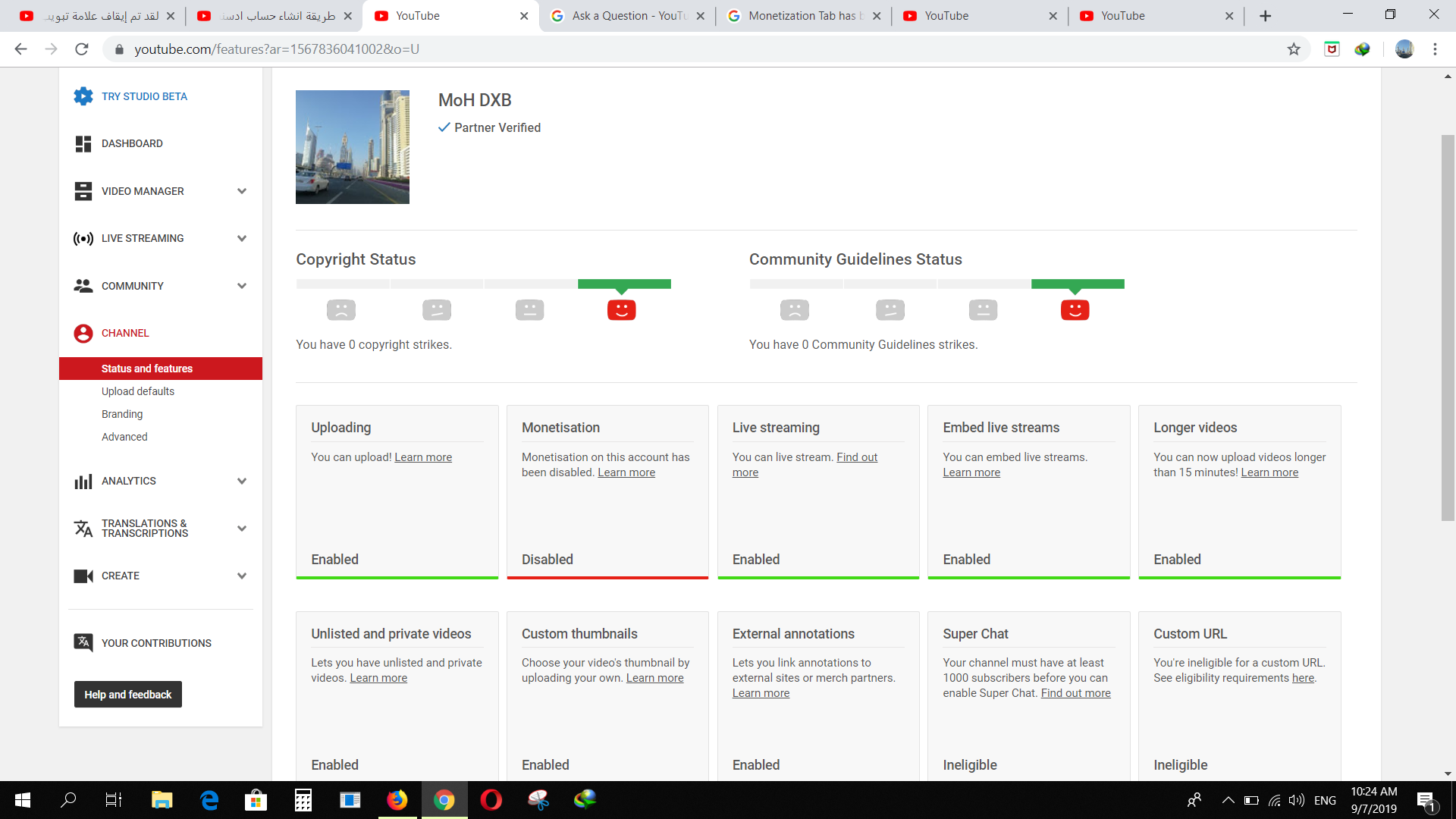 Your monetisation tab has been disabled  - YouTube Help