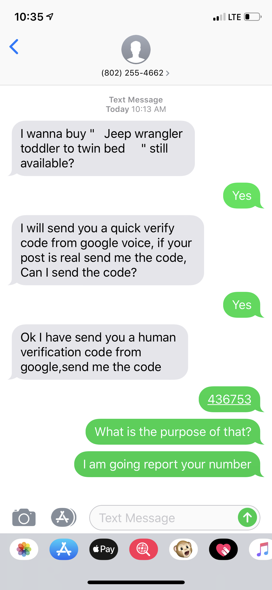 I post my a sale on Craigslist San Diego, and they text me
