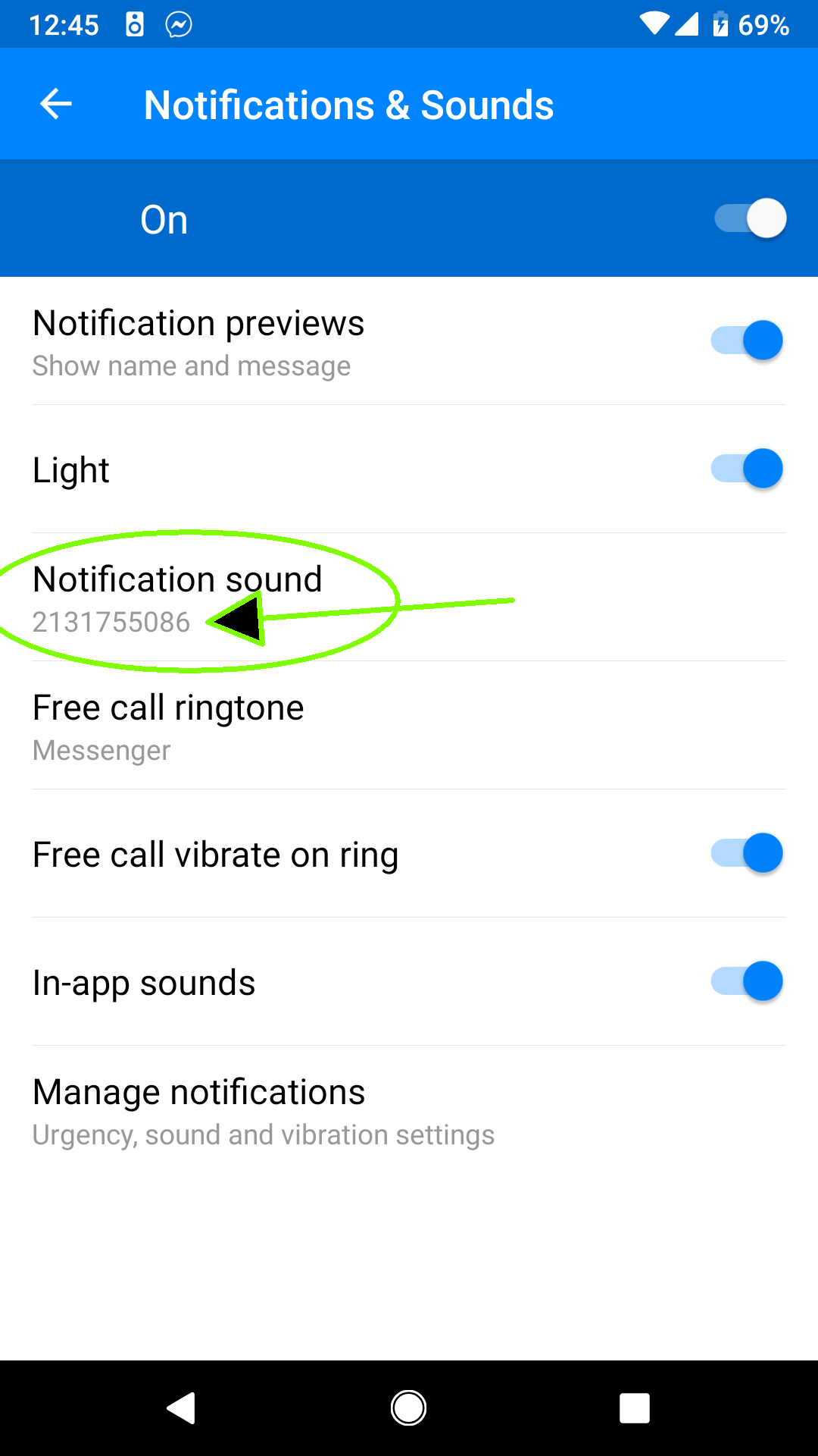 Facebook messenger default notification Ring Tone changes to