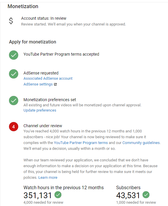 Question about Monetization - YouTube Help