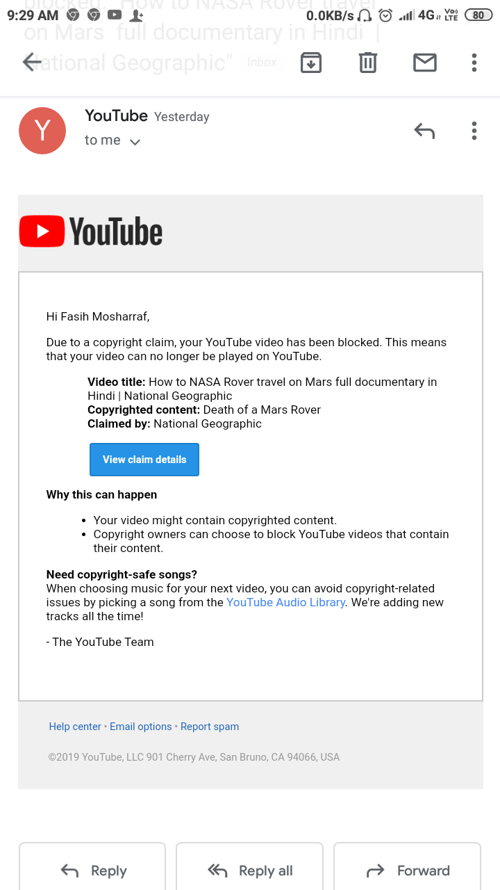 YouTube India got mad give me fake copyright strike on my