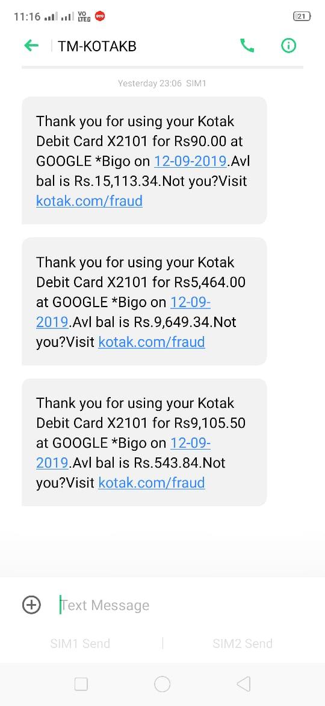 Unauthorised Charge Debited By Google Bigo What I Google Bigo