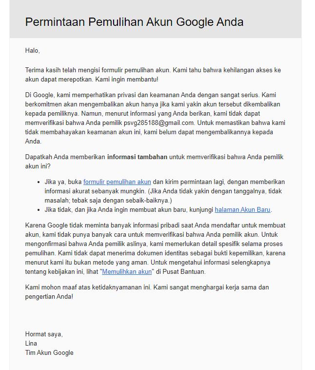 Bagimana Cara Yang Benar Memulihkan Akun Gmail Yang Di Nonaktifkan Komunitas Akun Google