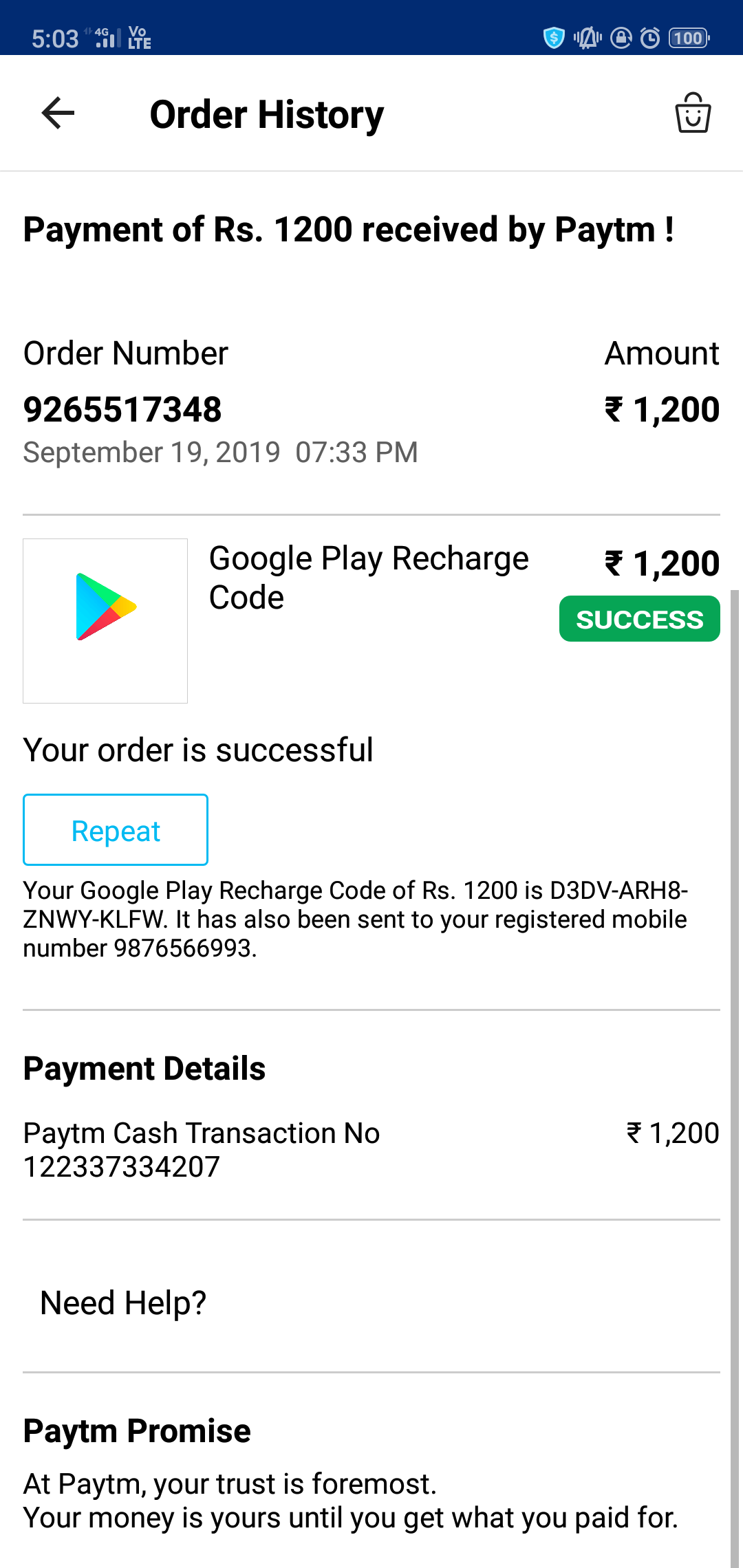 Wrongly Transfer Rs 1200 From My Paytm