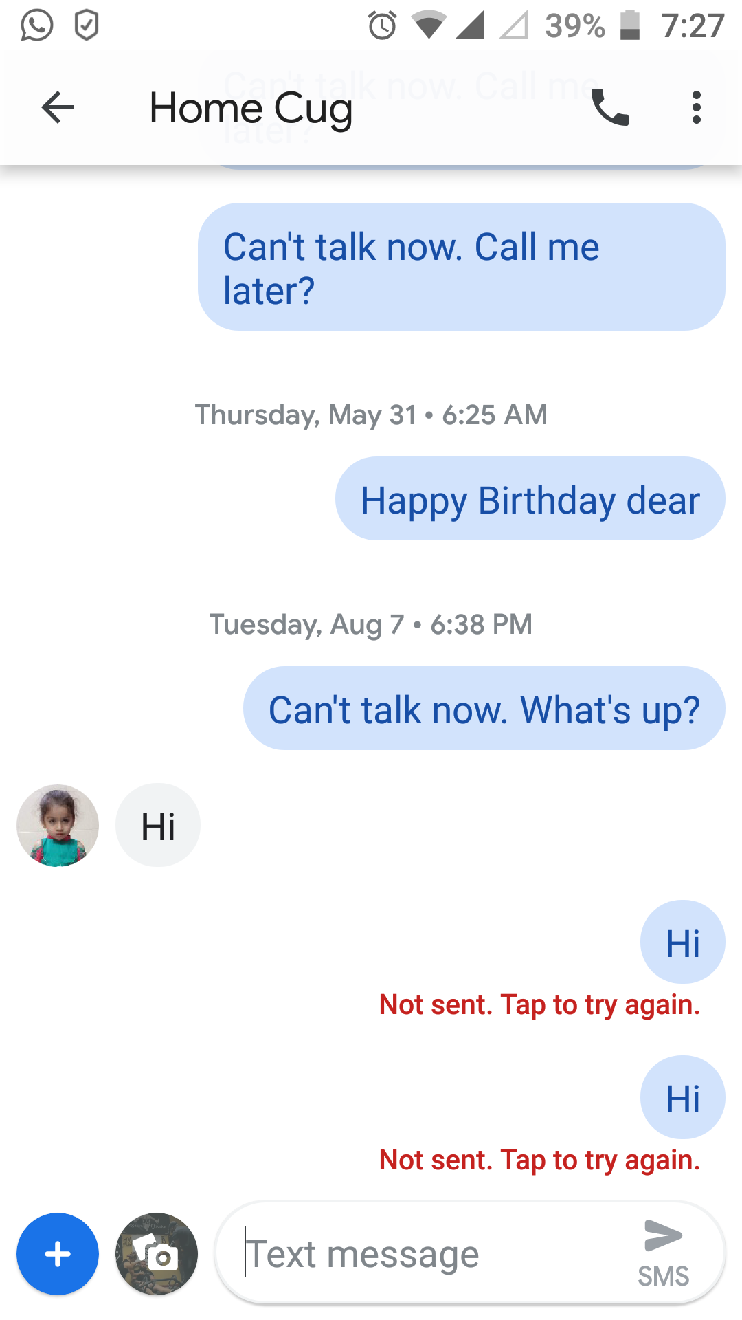 I can't send messages, only received - Messages Help
