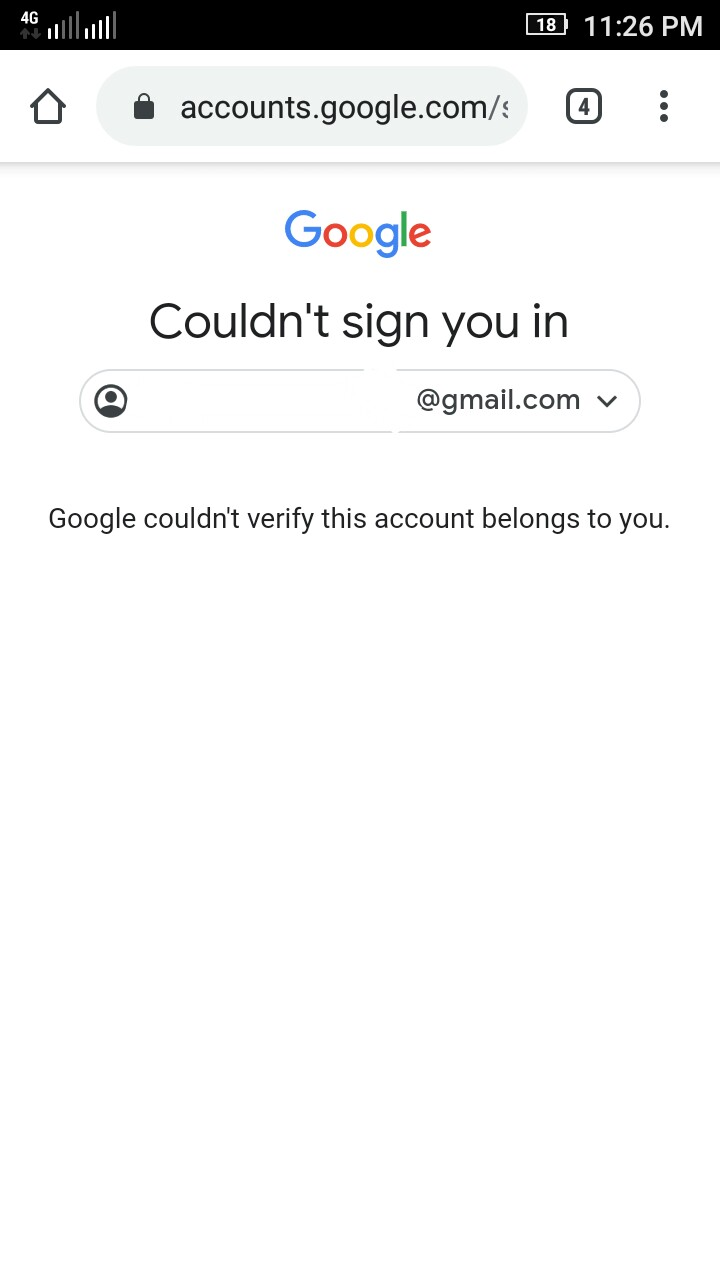 When i login my other gmail acount always show this error could ...