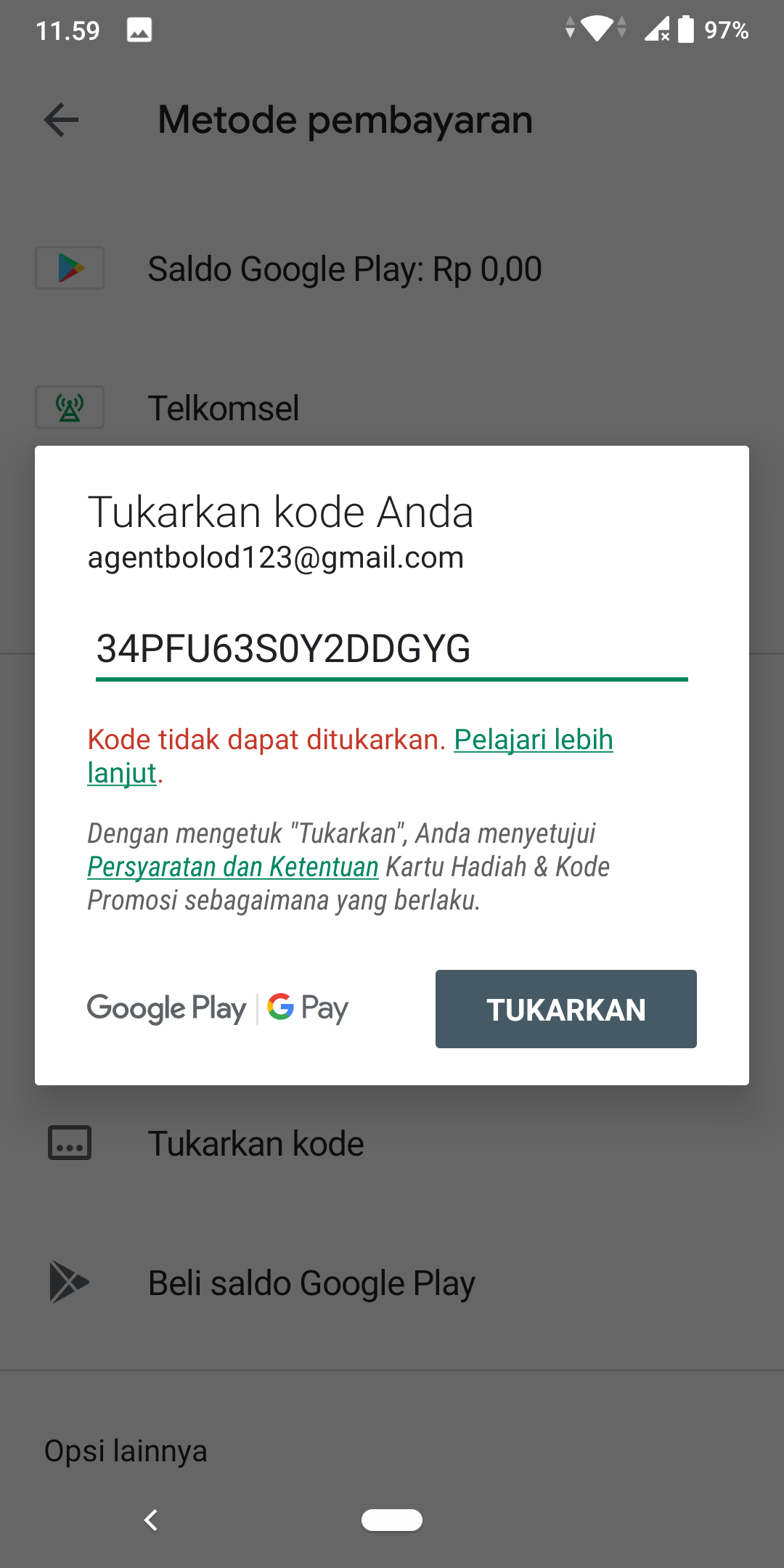 Kenapa Voucher Google Play Saya Tidak Dapat Di Tukarkan Padahal Di Alfamart Dinyatakan Sukses Kak Komunitas Google Play