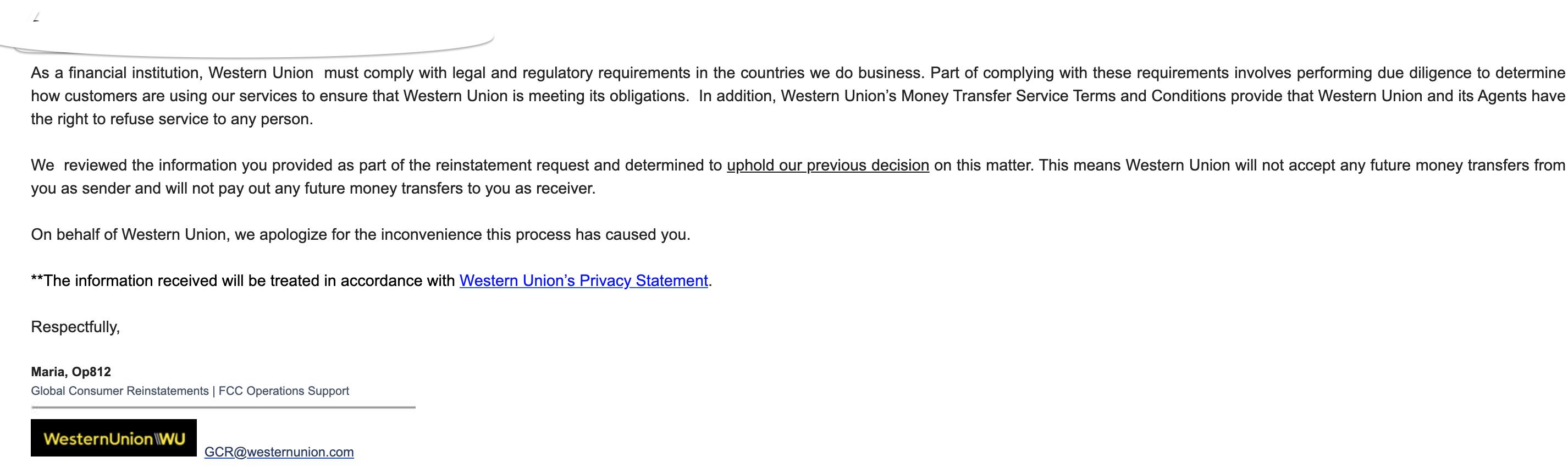 Western union money transfer provision