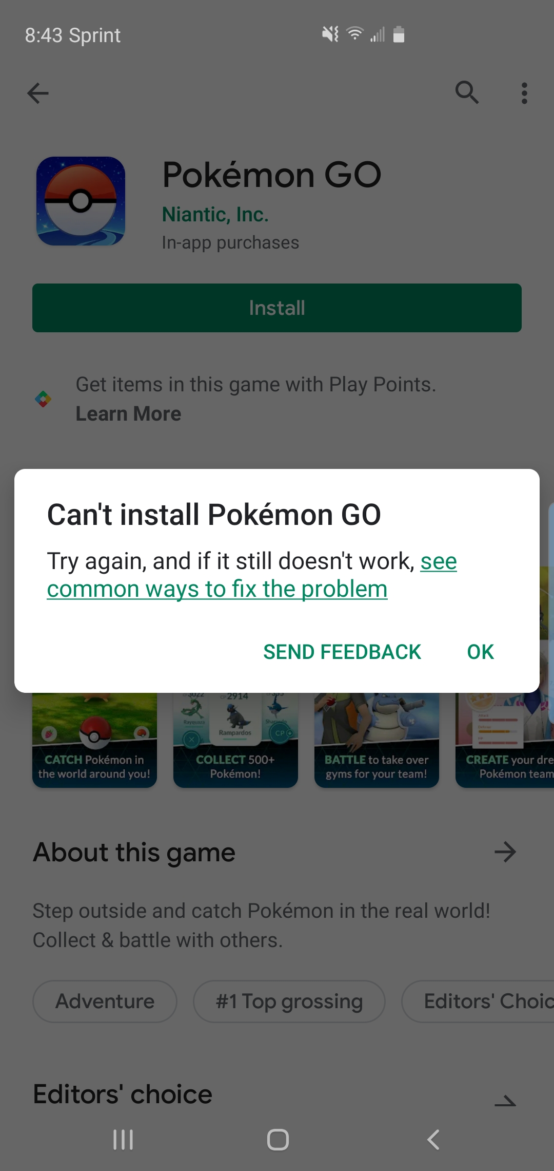 Cant install pokemon go  Device is a Samsung Galaxy s10+