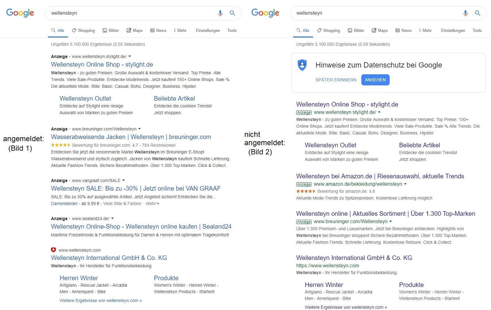 Die ersten 4 Suchergebnisse sind bei mir Werbung, jedoch vom