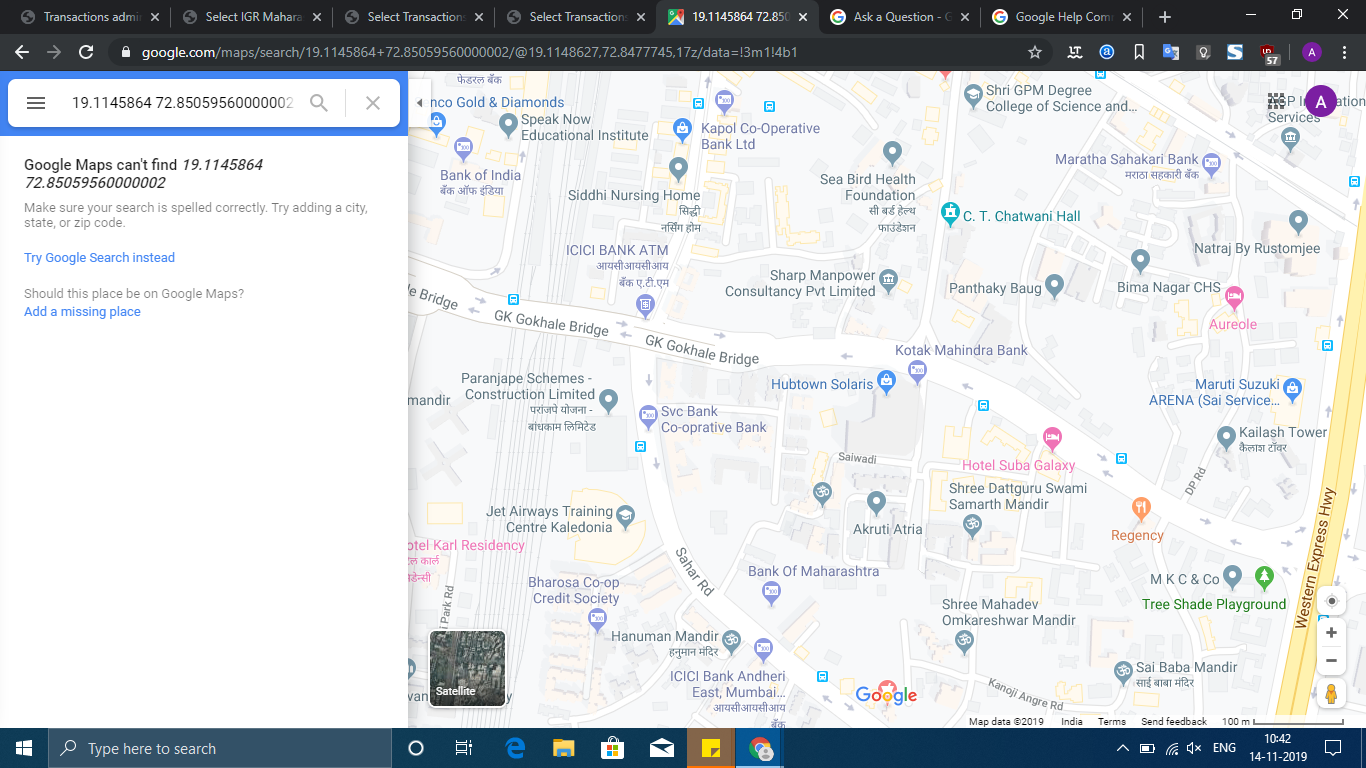 Not Able To Search Or Find Lat Long On Google Maps Google Maps