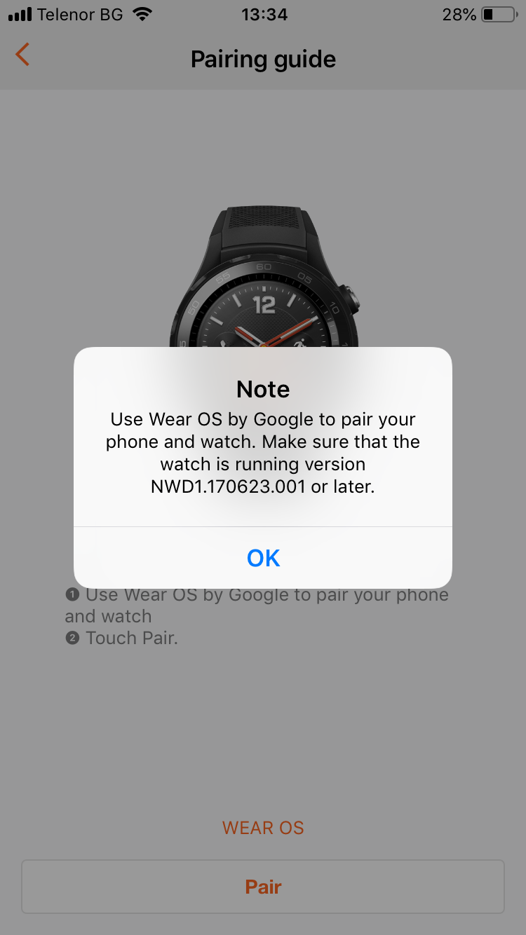 Cannot connect huawei smart watch 2 with huawei health