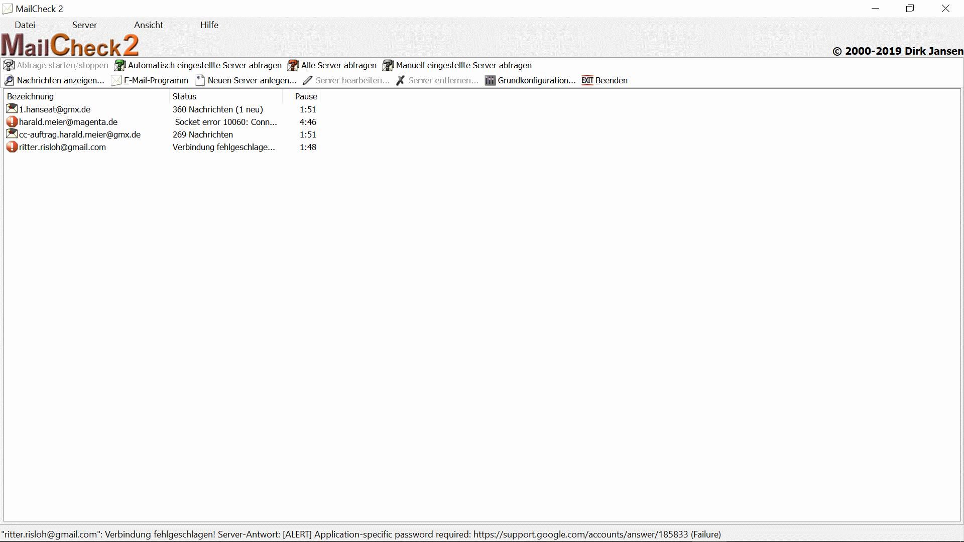 gmx server einstellungen