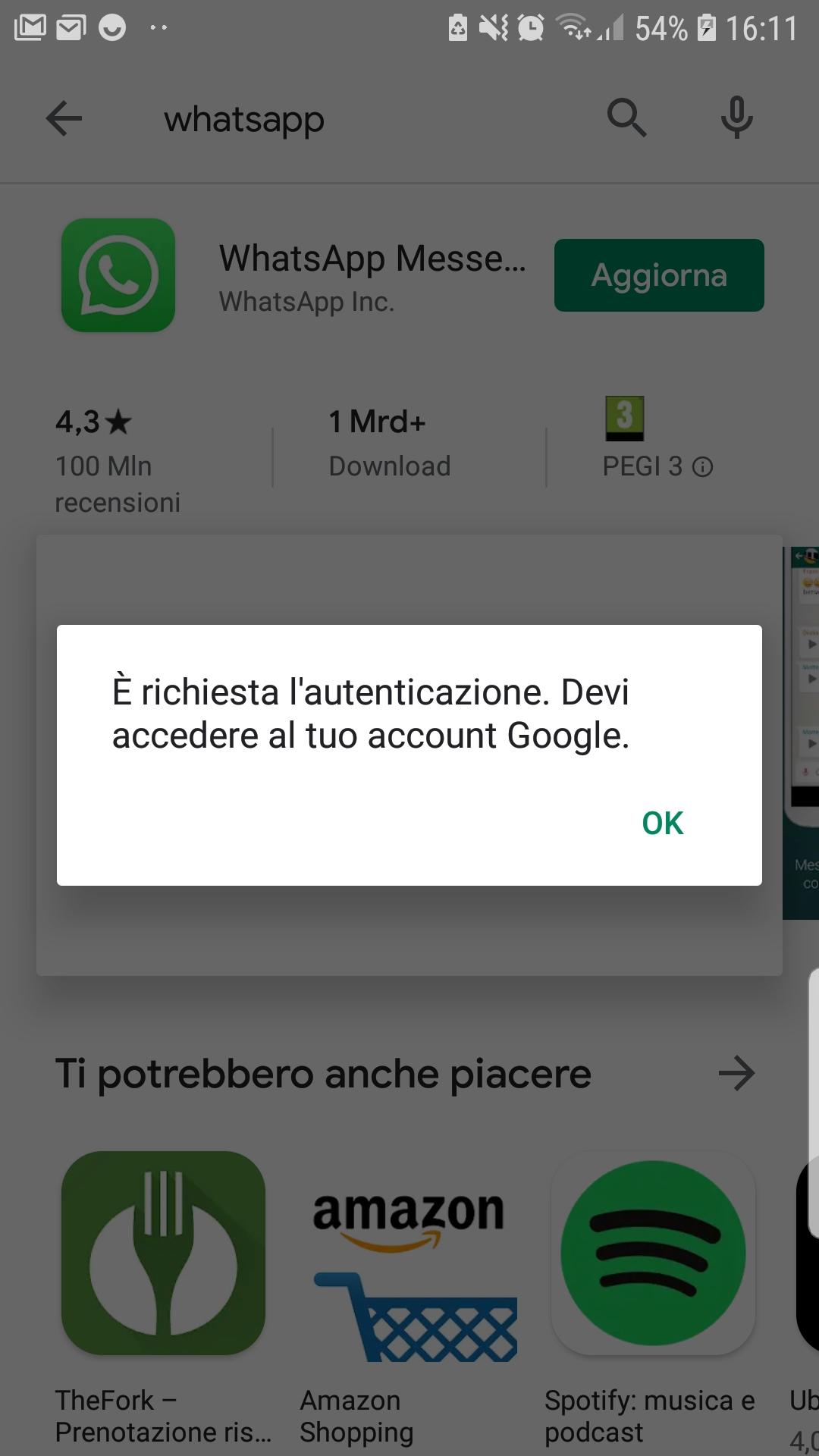 Aggiornamento whatsapp impossibile causa