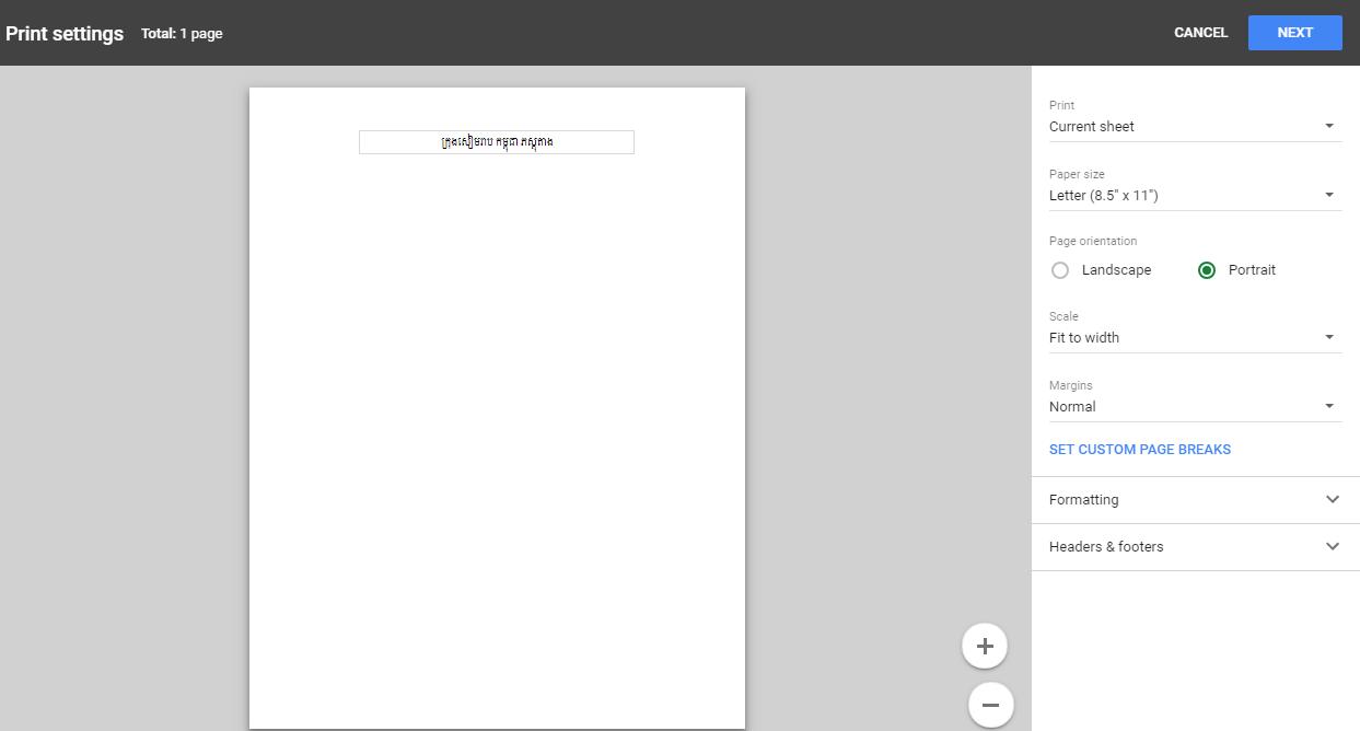 Why Khmer Unicode Print Incorrectly in SpreadSheet? - Docs Editors Help
