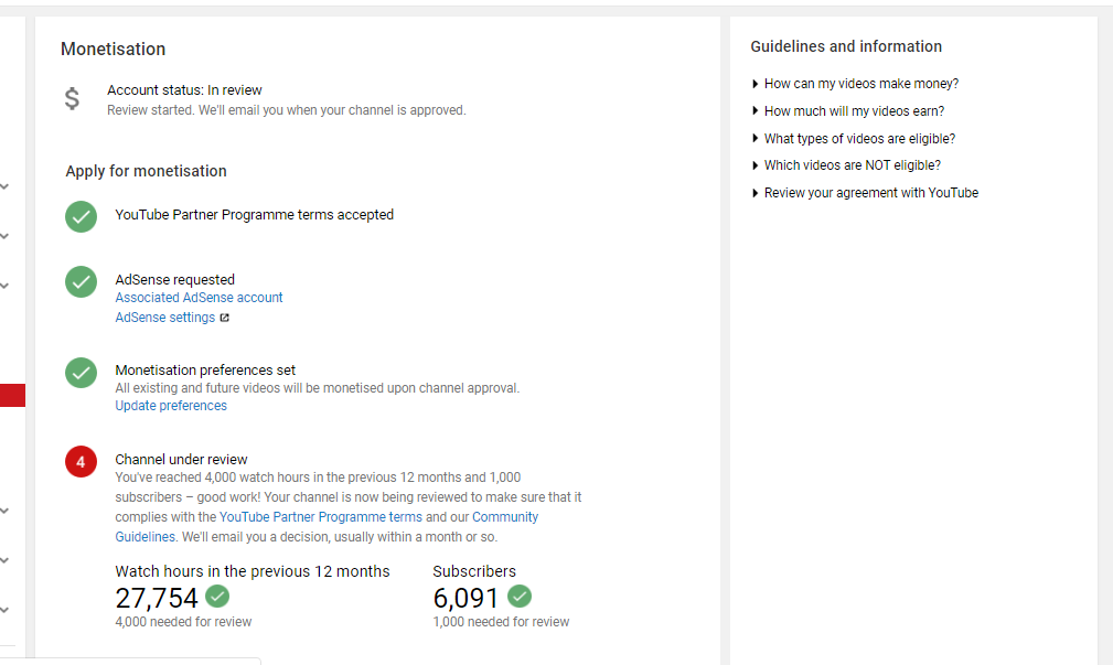 Hi Youtube team, I have been under review for monetization
