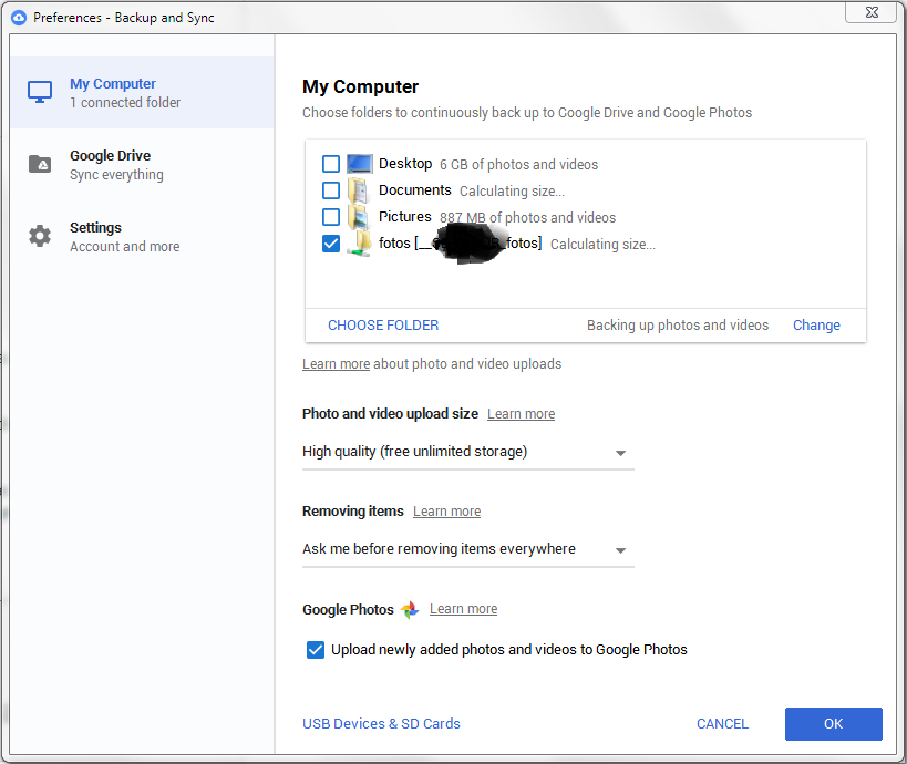 Backup and Sync not uploading photos from Network drive in