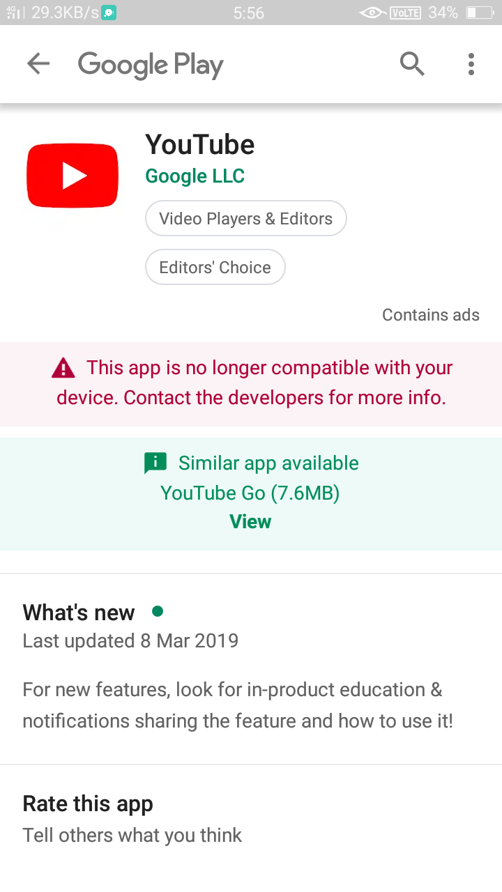 How can I install the latest update of youtube ? - Google
