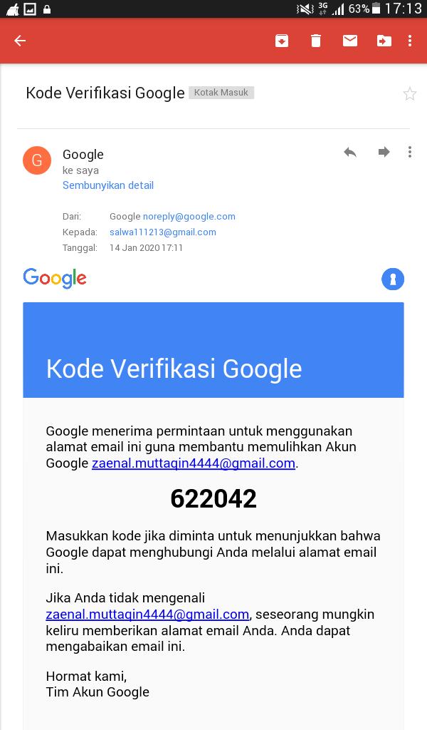 Masukkan Salah Satu Kode Cadangan 8 Digit Akun Google Community