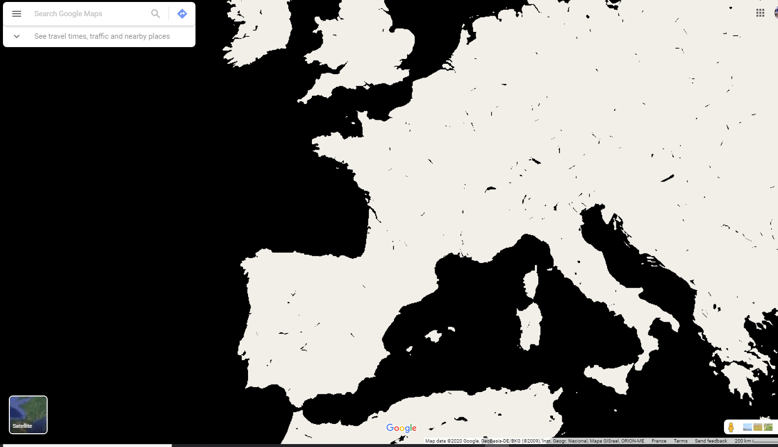 Black And White Map Of The World Why is Maps totally black and white?   Google Maps Community