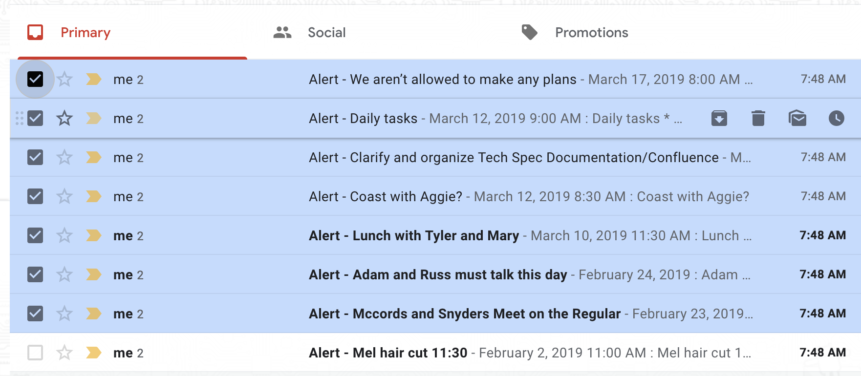 multiple email alerts - Calendar Help
