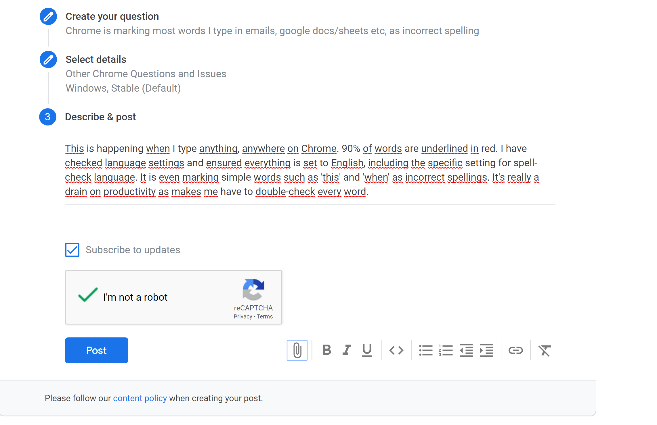 Chrome is marking most words I type in emails, google docs