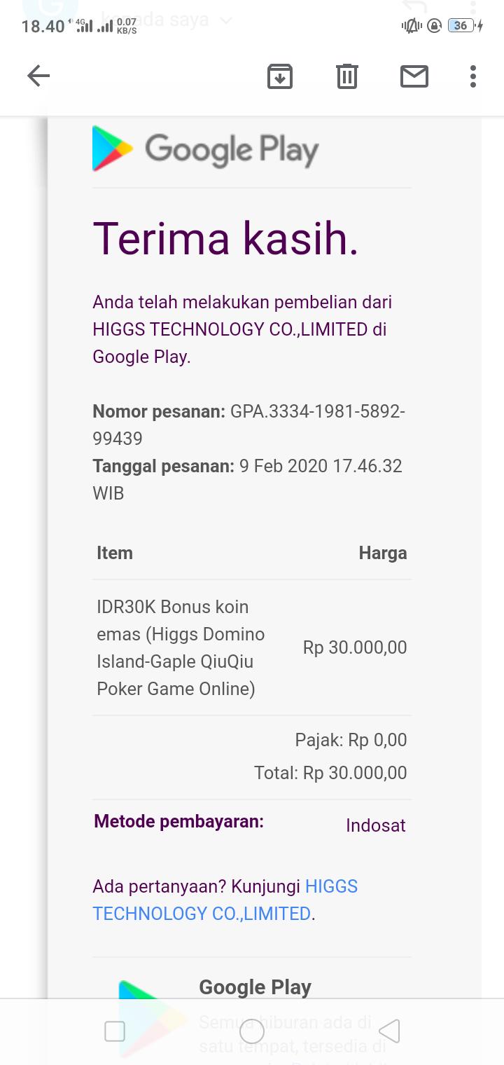 Saya Top Up Chip Pakai Pulsa Di Domino Island Pulsa Saya Sudah Di Potong Tapi Tidak Ada Menerima Google Play Community