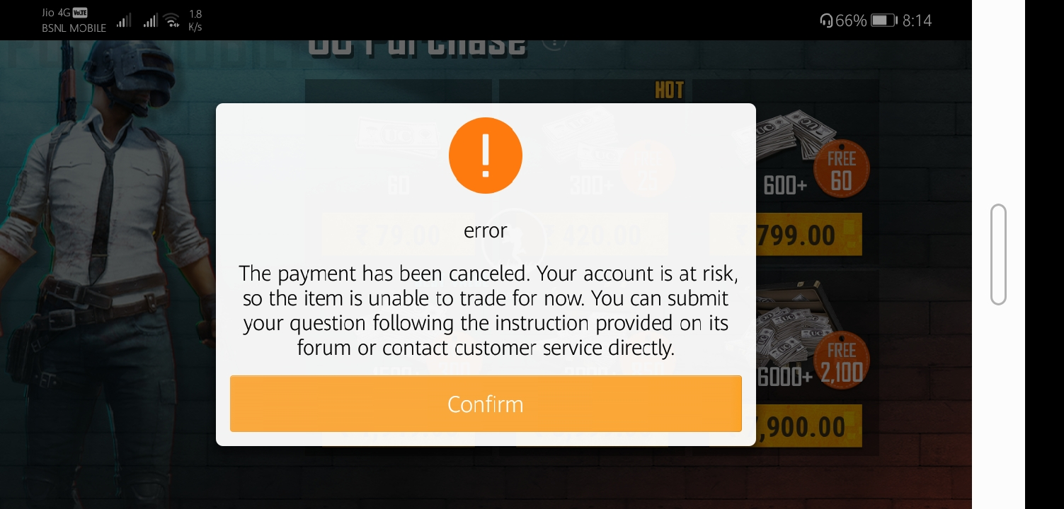 Unable to do inapp purchase in PUBG  Error msg showing