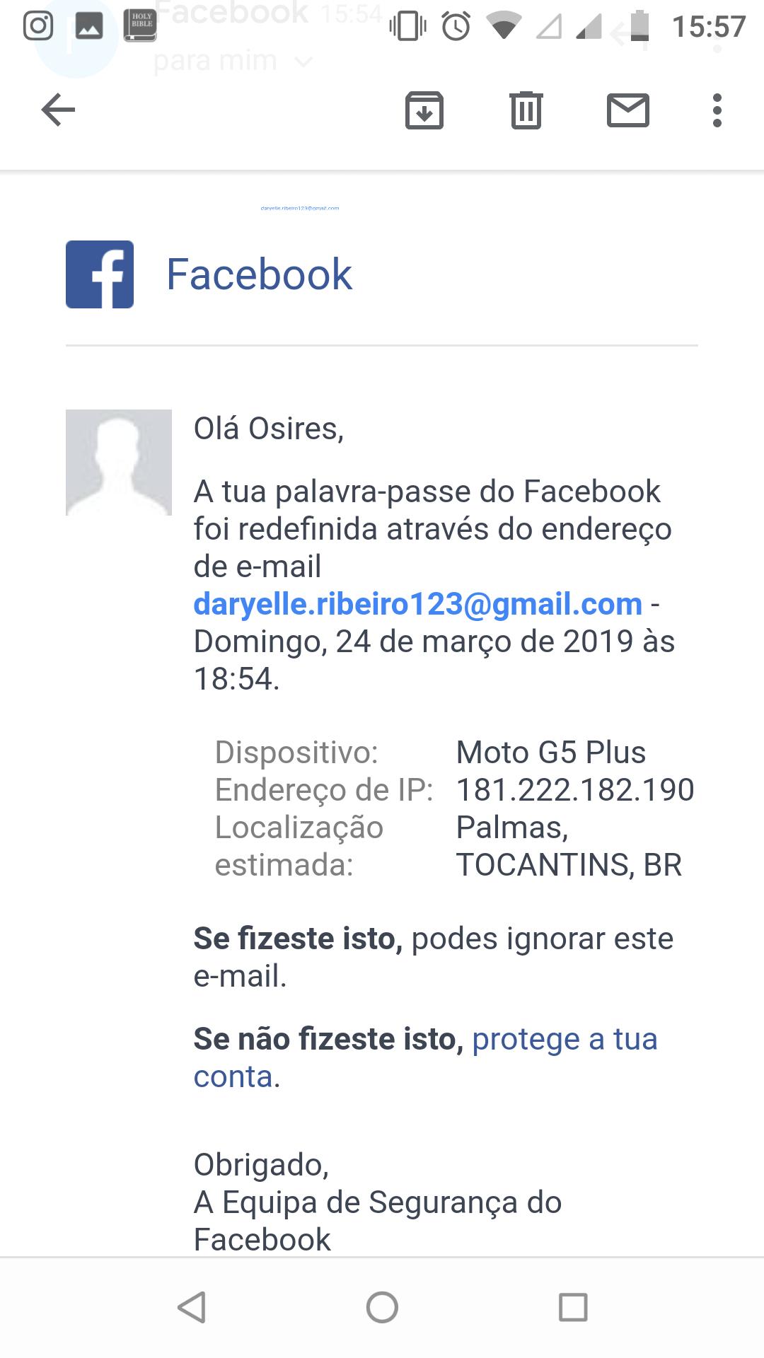 Estão usando minha conta de Gmail para acessar Facebook, o que faço? -  Gmail Community