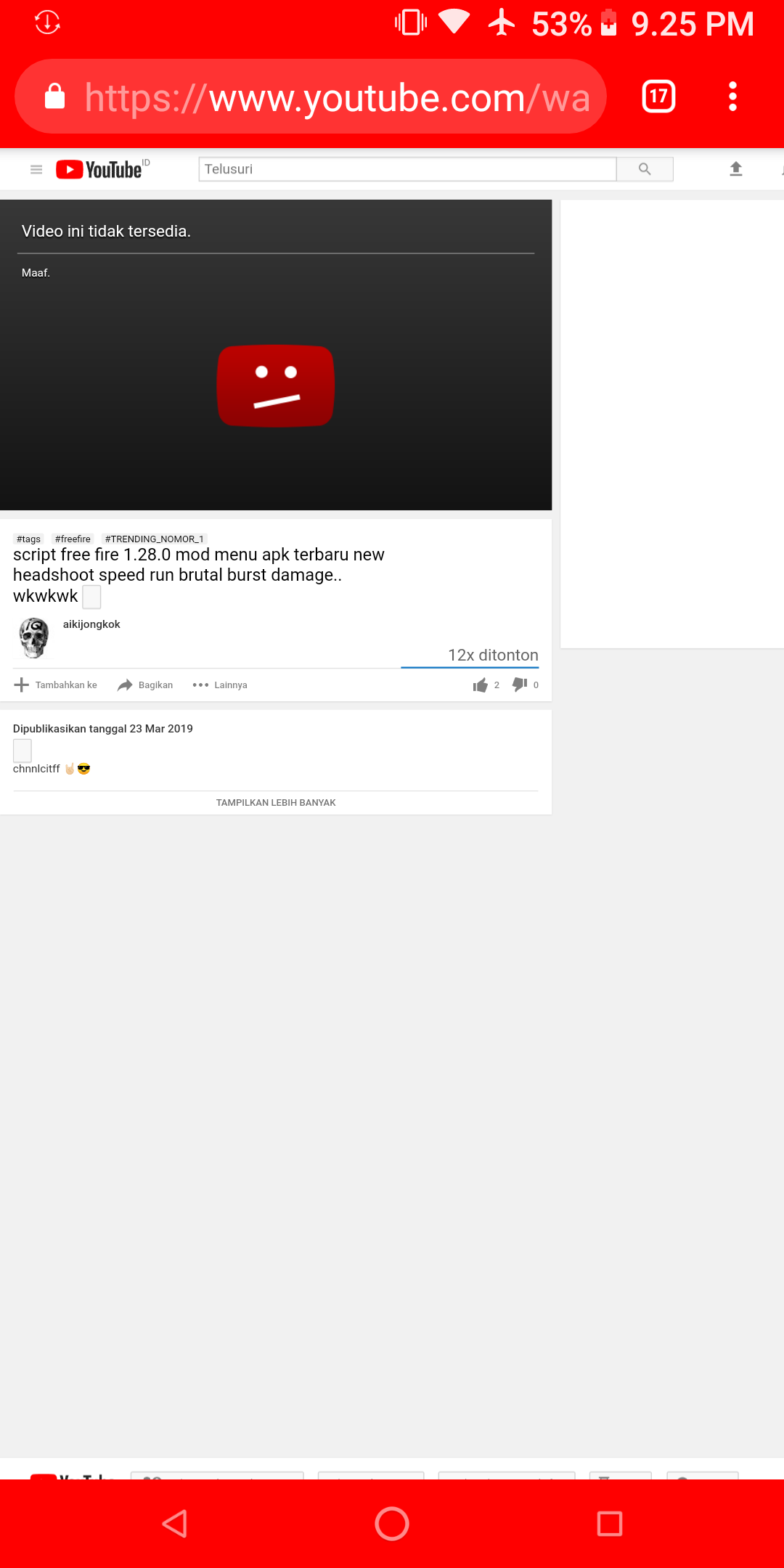 dear admin please help me my video was deleted because it