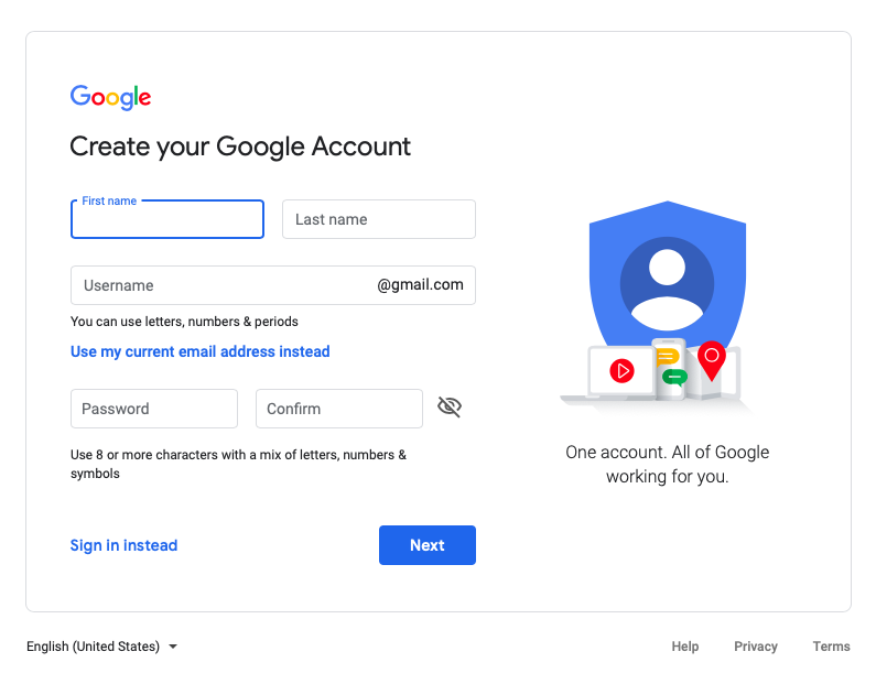 create gmail account for business free