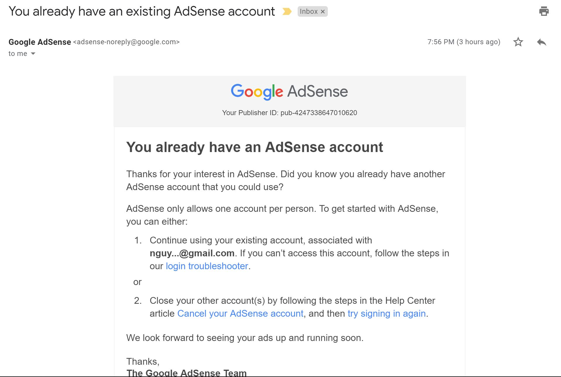 I don't already have another AdSense account - AdSense Help
