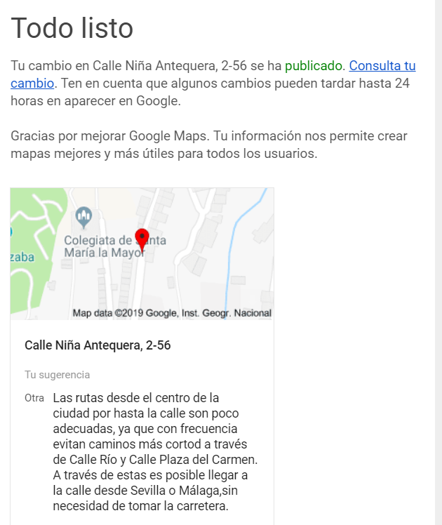 Incorrect route not fixed after reported to Maps - Google