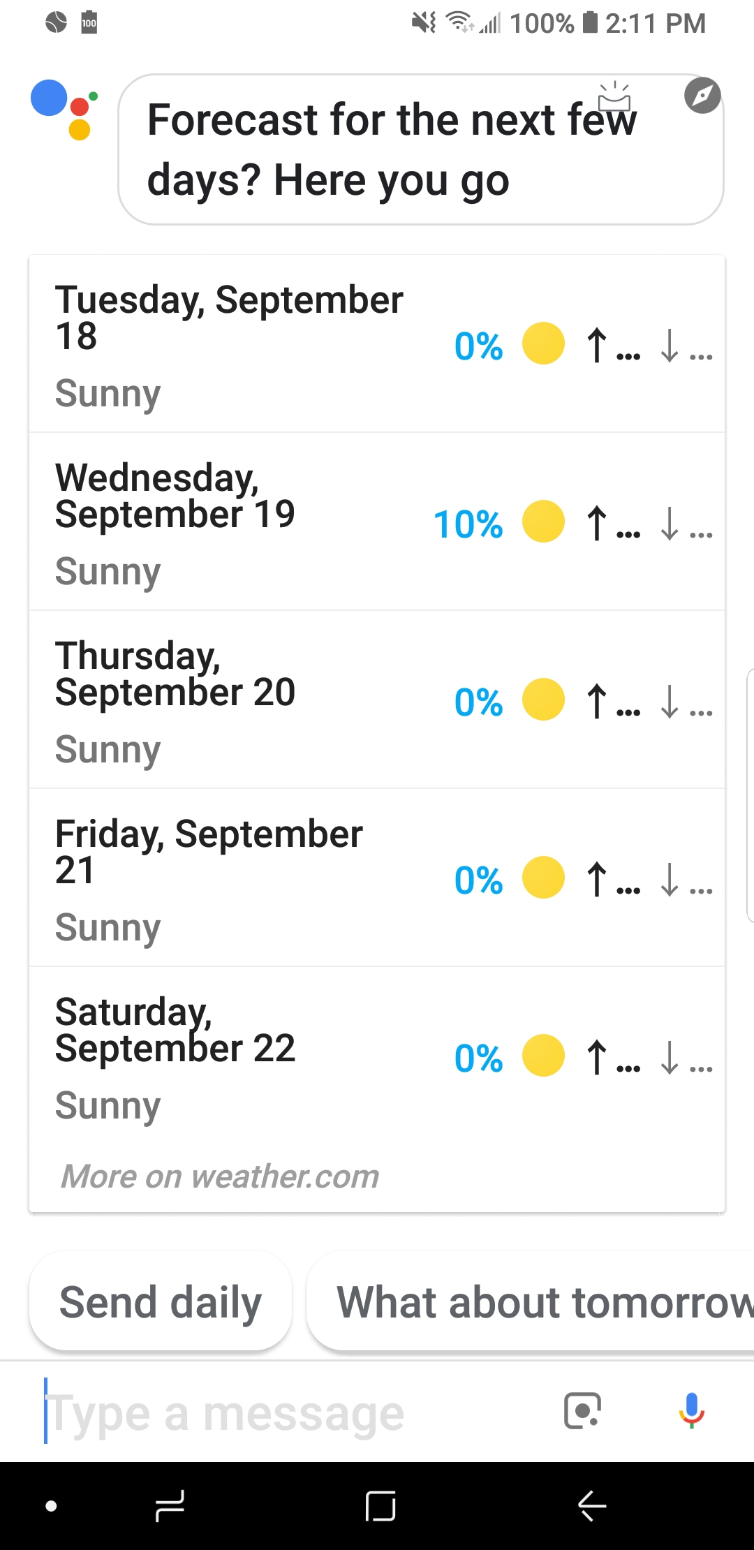 Why is weather temperature not showing up when weekly forecast is
