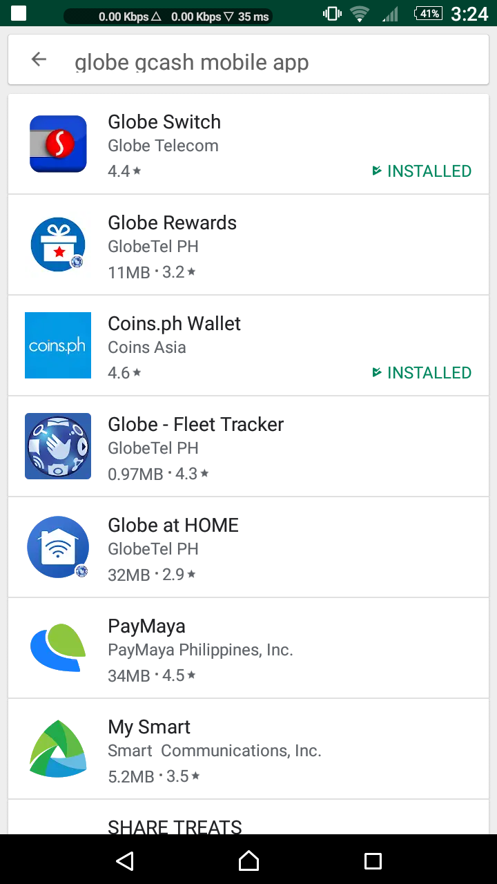 I cant find GLOBE GCASH MOBILE APP on playstore it seems its not