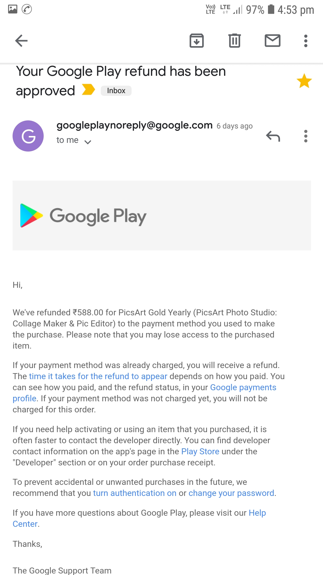 Why debited was not refunded to my account - Google Play Help