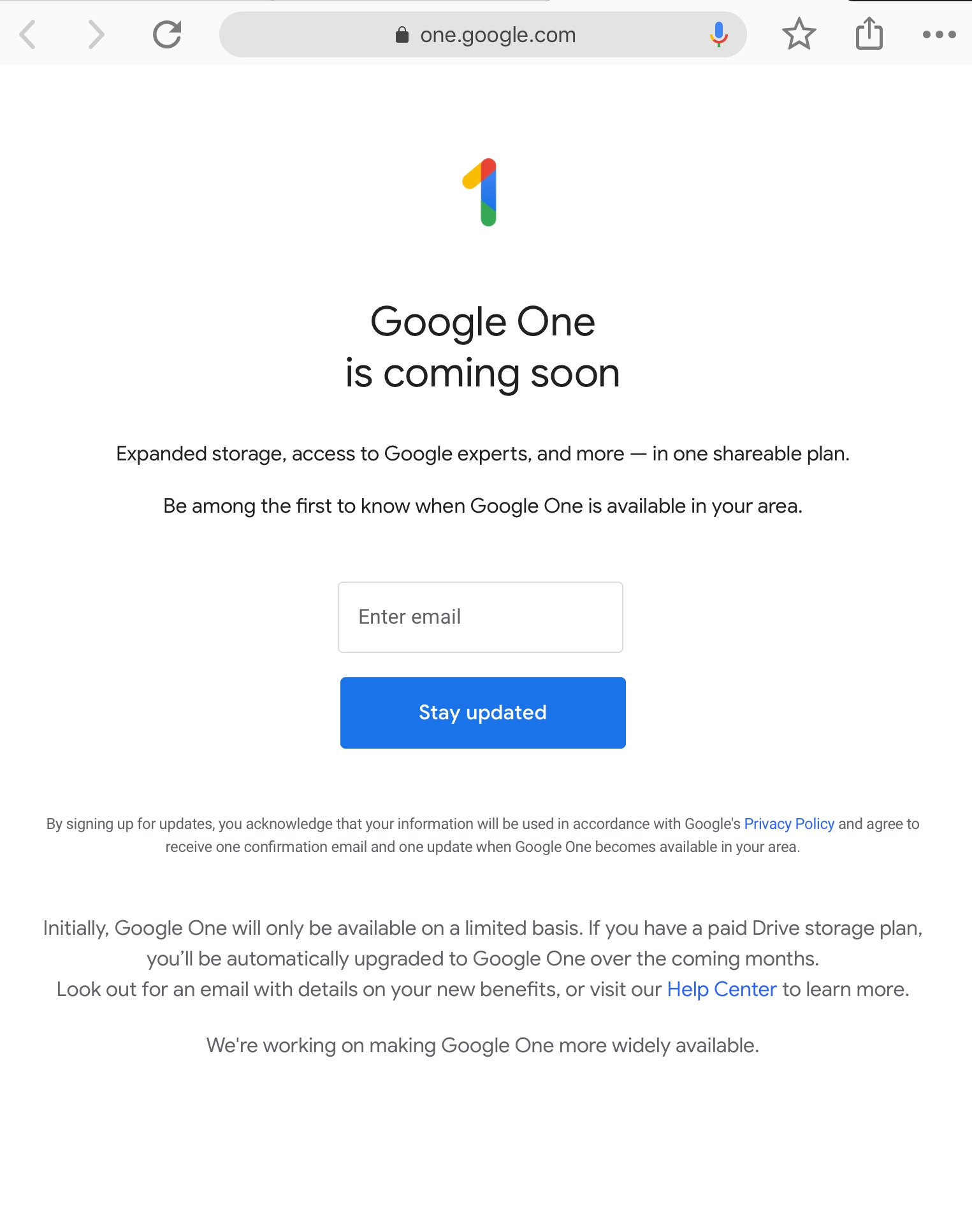 Google One still says it's unavailable for my account