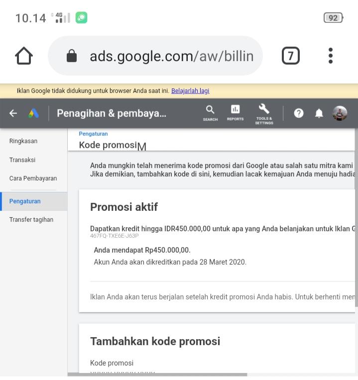 Pemakaian Kode Promosi Google Google Ads Community