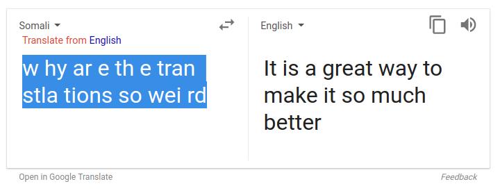 somali to english bug   - Google Translate Help